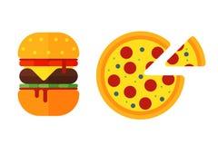 Os ícones coloridos do fast food dos desenhos animados do sanduíche isolaram a carne americana saboroso do cheeseburger do restau ilustração royalty free