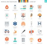 Os ícones coloridos médicos ajustaram 02 Fotos de Stock