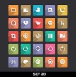 Os ícones com sombra longa ajustaram 20 Fotos de Stock Royalty Free
