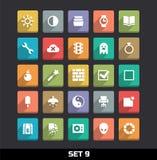 Os ícones com sombra longa ajustaram 9 Imagens de Stock Royalty Free
