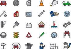 Os ícones conectaram carros e reparos do carro Imagens de Stock Royalty Free