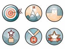 Os ícones criativos do vetor relacionaram-se aos esportes e às vitórias Imagens de Stock
