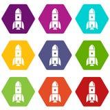 Os ícones da astronomia de Rocket ajustaram 9 ilustração royalty free
