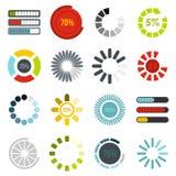 Os ícones da barra do progresso da transferência ajustaram-se, estilo liso Imagens de Stock Royalty Free