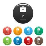 Os ícones da bateria ajustaram a cor ilustração royalty free