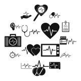 Os ícones da batida do pulso do coração ajustaram-se, estilo simples ilustração stock