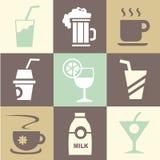 Os ícones da bebida ajustaram-se grande para todo o uso Vetor eps10 Imagens de Stock