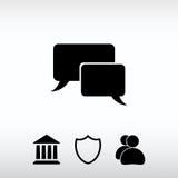 Os ícones da bolha do discurso enegrecem o ícone, ilustração do vetor Projeto liso Fotografia de Stock