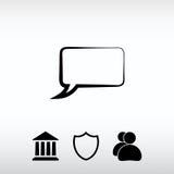 Os ícones da bolha do discurso enegrecem o ícone, ilustração do vetor Projeto liso Foto de Stock