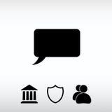 Os ícones da bolha do discurso enegrecem o ícone, ilustração do vetor Projeto liso Fotos de Stock