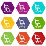 Os ícones da cadeira do salão de beleza ajustaram 9 ilustração stock