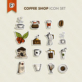 Os ícones da cafetaria ajustaram a ilustração Fotos de Stock Royalty Free
