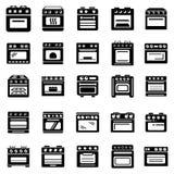 Os ícones da chaminé do fogão do forno ajustaram-se, estilo simples Fotos de Stock Royalty Free