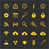 Os ícones da ciência e da tecnologia ajustaram-se para a Web e o móbil fotos de stock royalty free