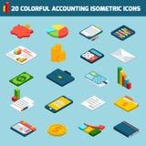 Os ícones da contabilidade ajustaram-se isométrico Imagens de Stock Royalty Free