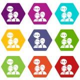 Os ícones da conversação dos povos ajustaram o vetor 9 ilustração stock