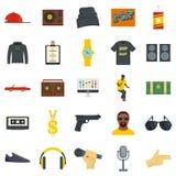 Os ícones da dança da música dos ganhos da batida de Hiphop ajustaram-se, estilo liso ilustração stock