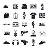 Os ícones da dança da música dos ganhos da batida de Hiphop ajustaram-se, estilo simples ilustração royalty free