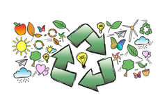 Os ícones da ecologia nublam-se isolado em um fundo - conceito da natureza Fotos de Stock Royalty Free