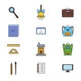Os ícones da escola ajustaram 3 EPS8 Imagens de Stock