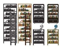 Os ícones da estante do vetor ajustaram-se - variações pretas e coloridas Imagens de Stock Royalty Free