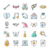 Os ícones da garatuja do dia de Valentim embalam ilustração stock