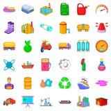 Os ícones da indústria de refinação do óleo ajustaram-se, estilo dos desenhos animados Imagem de Stock