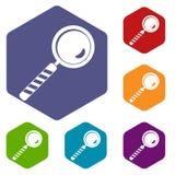 Os ícones da lupa ajustaram o hexágono Imagens de Stock