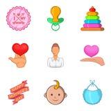 Os ícones da mãe e da criança ajustaram-se, estilo dos desenhos animados Fotos de Stock
