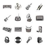 Os ícones da música ajustaram desenhos animados Imagem de Stock Royalty Free