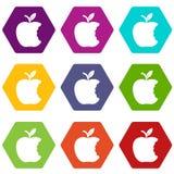 Os ícones da maçã da mordida ajustaram o vetor 9 ilustração stock