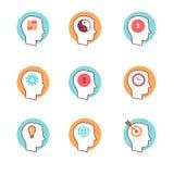 Os ícones da mente humana diluem a linha grupo Fotos de Stock