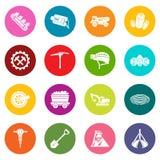Os ícones da mina de carvão ajustaram o vetor colorido dos círculos ilustração royalty free