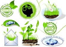 Os ícones da natureza ajustaram-se, eco e bio mensagem Imagens de Stock