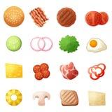 Os ícones da opinião superior dos ingredientes do hamburguer ajustaram-se, estilo dos desenhos animados ilustração stock