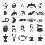 Os ícones da padaria ajustaram-se Imagens de Stock Royalty Free