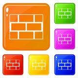 Os ícones da parede do bloco de cimento ajustaram a cor do vetor ilustração stock