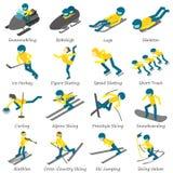 Os ícones da placa do esqui do esporte de inverno ajustaram-se, estilo isométrico ilustração stock
