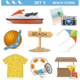 Os ícones da praia do vetor ajustaram 5 Foto de Stock Royalty Free