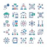 Os ícones da propaganda, da comunicação e dos trabalhos em rede embalam ilustração royalty free