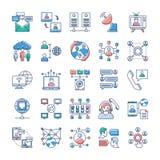 Os ícones da propaganda, da comunicação e dos trabalhos em rede empacotam ilustração do vetor