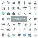 Os ícones da saúde e da medicina ajustaram o vetor ilustração royalty free
