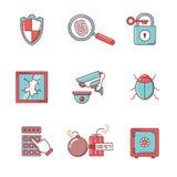 Os ícones da segurança e do cybersecurity diluem a linha grupo Imagem de Stock