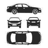 Os ícones da silhueta do carro quatro todos veem o seguro da parte traseira do lado superior, dano do aluguel, modelo do formulár Fotografia de Stock