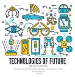 Os ícones da tecnologia ajustaram o conceito infographic do vetor Bloco do vetor da tecnologia da inteligência artificial do esbo Imagem de Stock