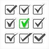 Os ícones da validação ajustaram-se de nove marcas de verificação diferentes Foto de Stock Royalty Free