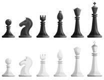 Os ícones da xadrez ajustaram-se, estilo dos desenhos animados ilustração do vetor