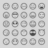 Os ícones das caras do smiley ajustaram a ilustração eps10 Imagens de Stock