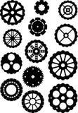 Os ícones das engrenagens do preto ajustaram-se, engrenagem da máquina da coleção Imagem de Stock Royalty Free