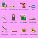 Os ícones das ferramentas dos eletricistas ajustados Fotografia de Stock